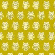 Papillon by Makower UK - 5159 - White Owls on Chartreuse - 1763_G - Cotton Fabric